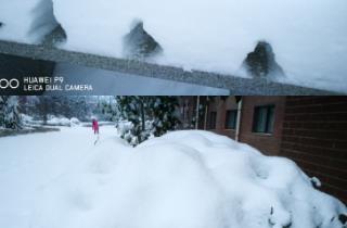 晚来的雪景美照
